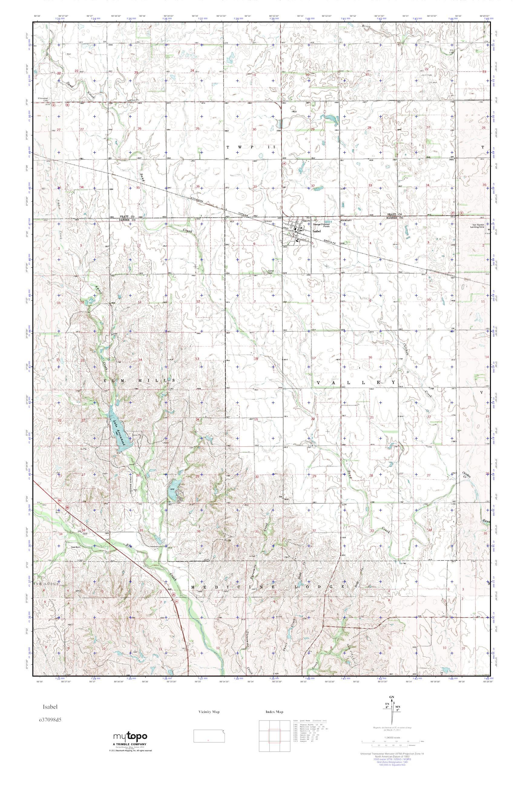 MyTopo Isabel, Kansas USGS Quad Topo Map