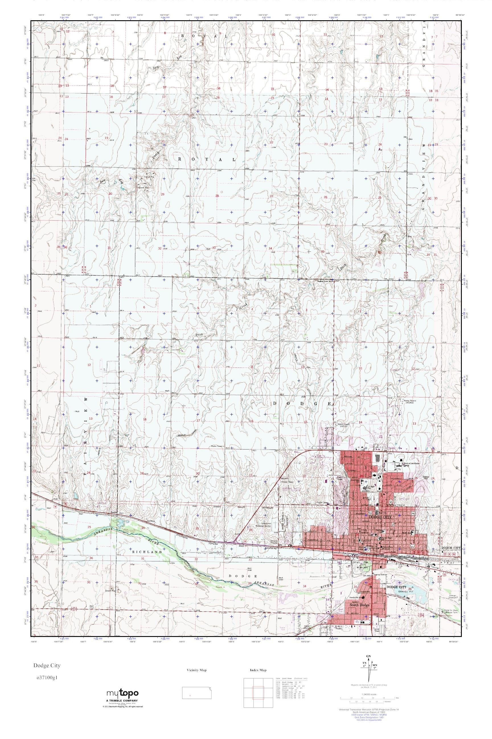 MyTopo Dodge City, Kansas USGS Quad Topo Map