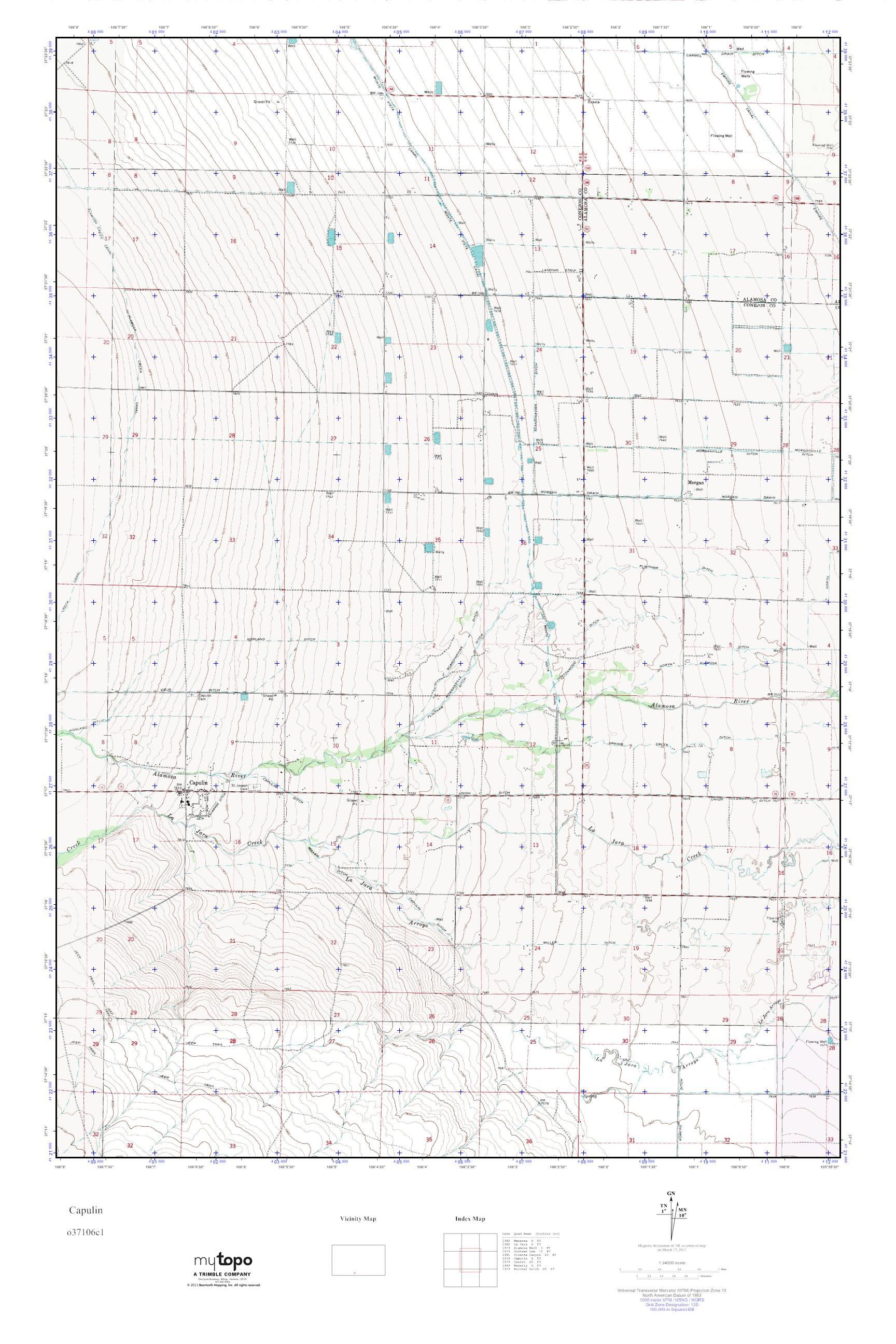 MyTopo Capulin, Colorado USGS Quad Topo Map