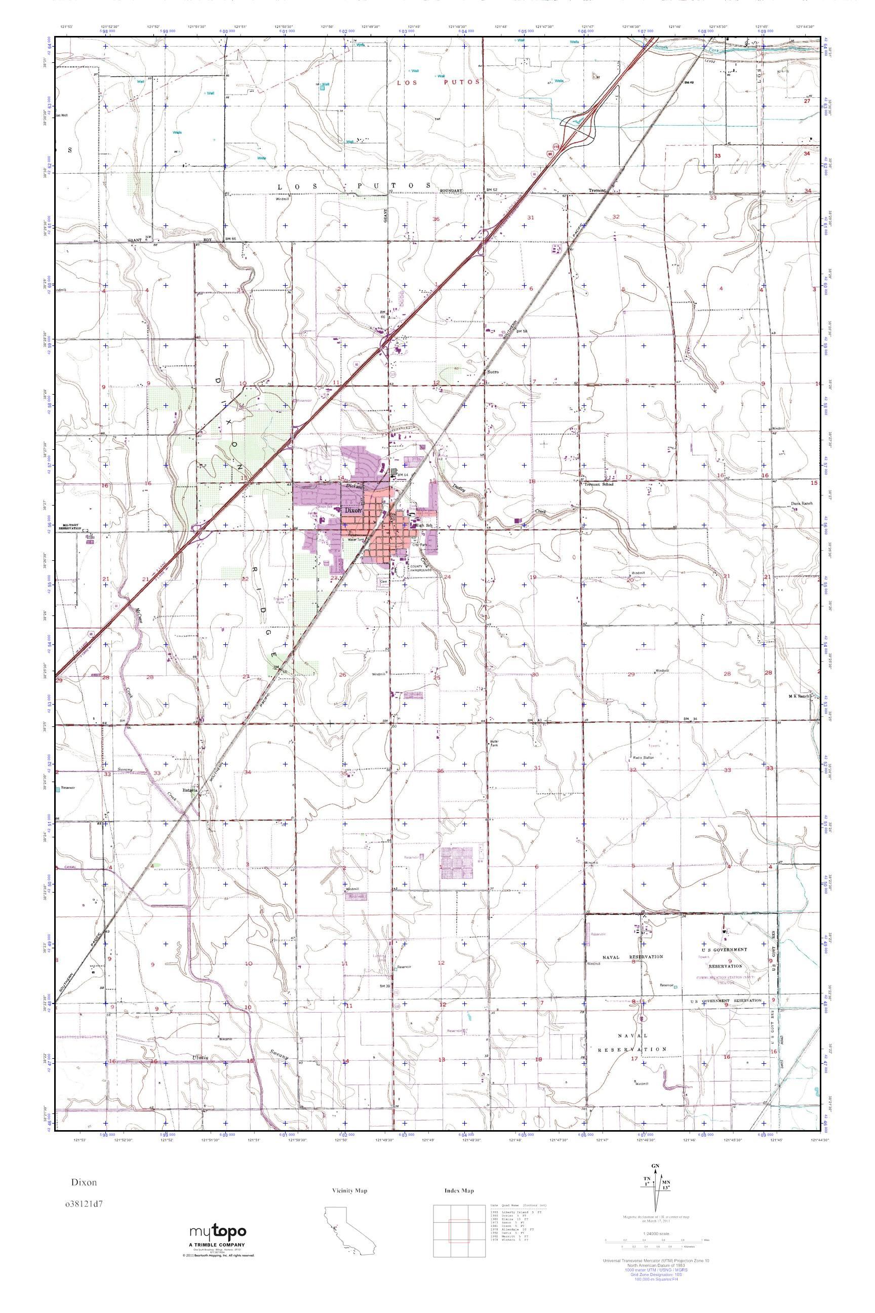 MyTopo Dixon, California USGS Quad Topo Map