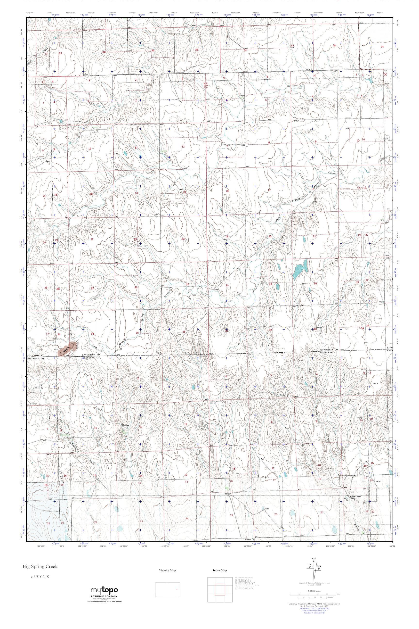MyTopo Big Spring Creek, Colorado USGS Quad Topo Map