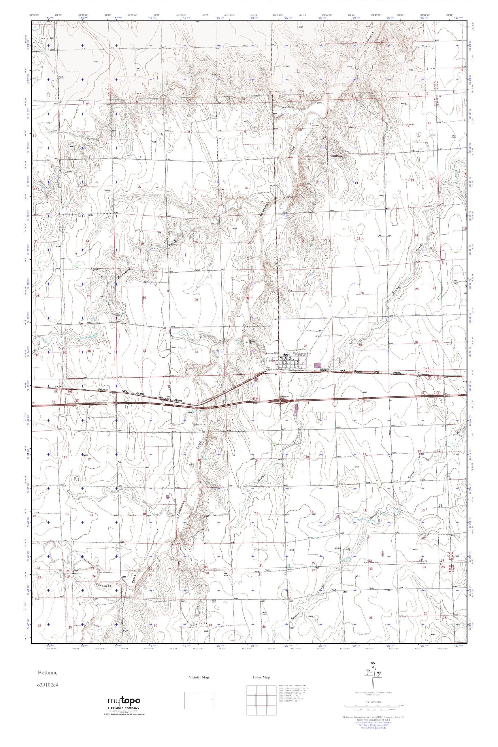 MyTopo Bethune, Colorado USGS Quad Topo Map