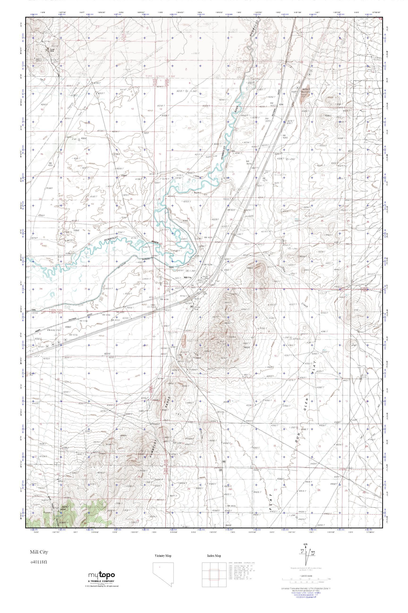 MyTopo Mill City, Nevada USGS Quad Topo Map