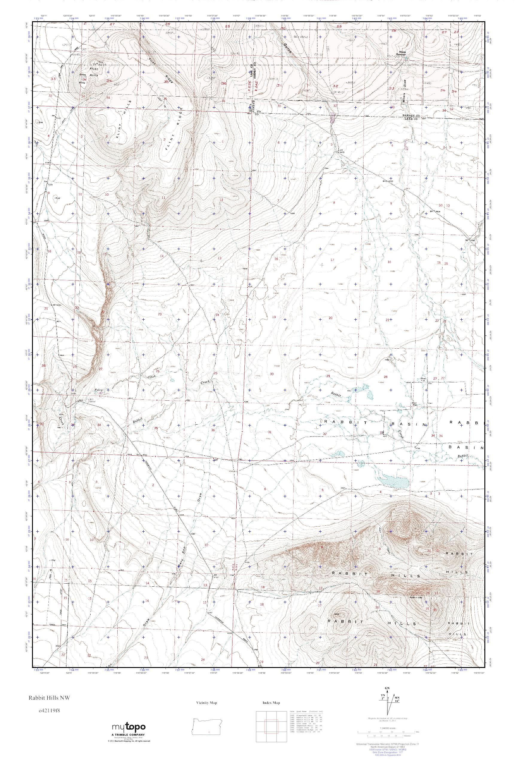 MyTopo Rabbit Hills NW, Oregon USGS Quad Topo Map