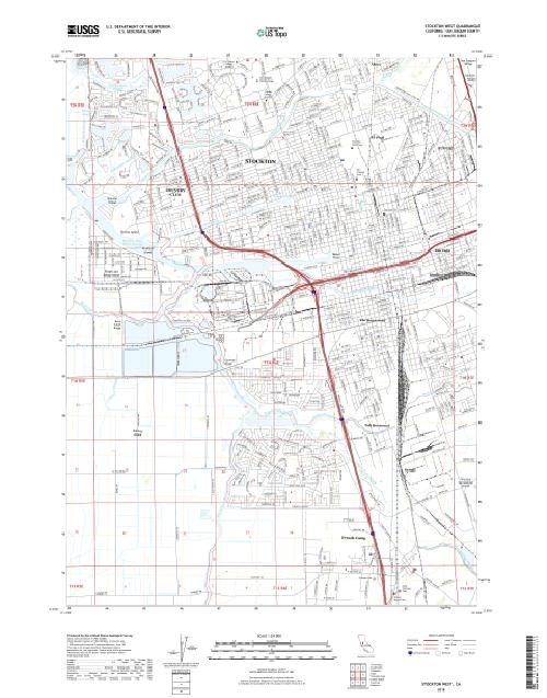 MyTopo Stockton West, California USGS Quad Topo Map