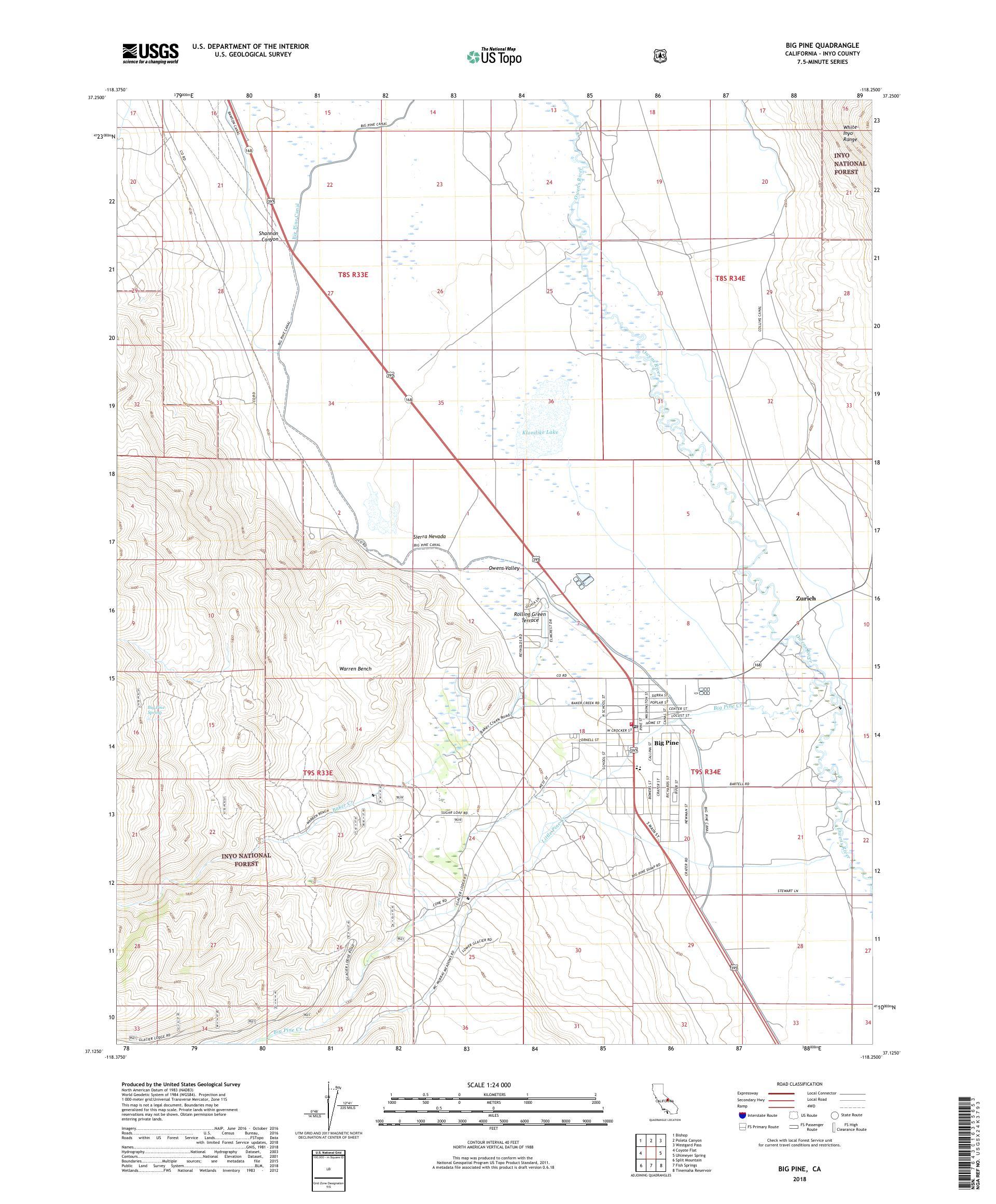 MyTopo Big Pine, California USGS Quad Topo Map