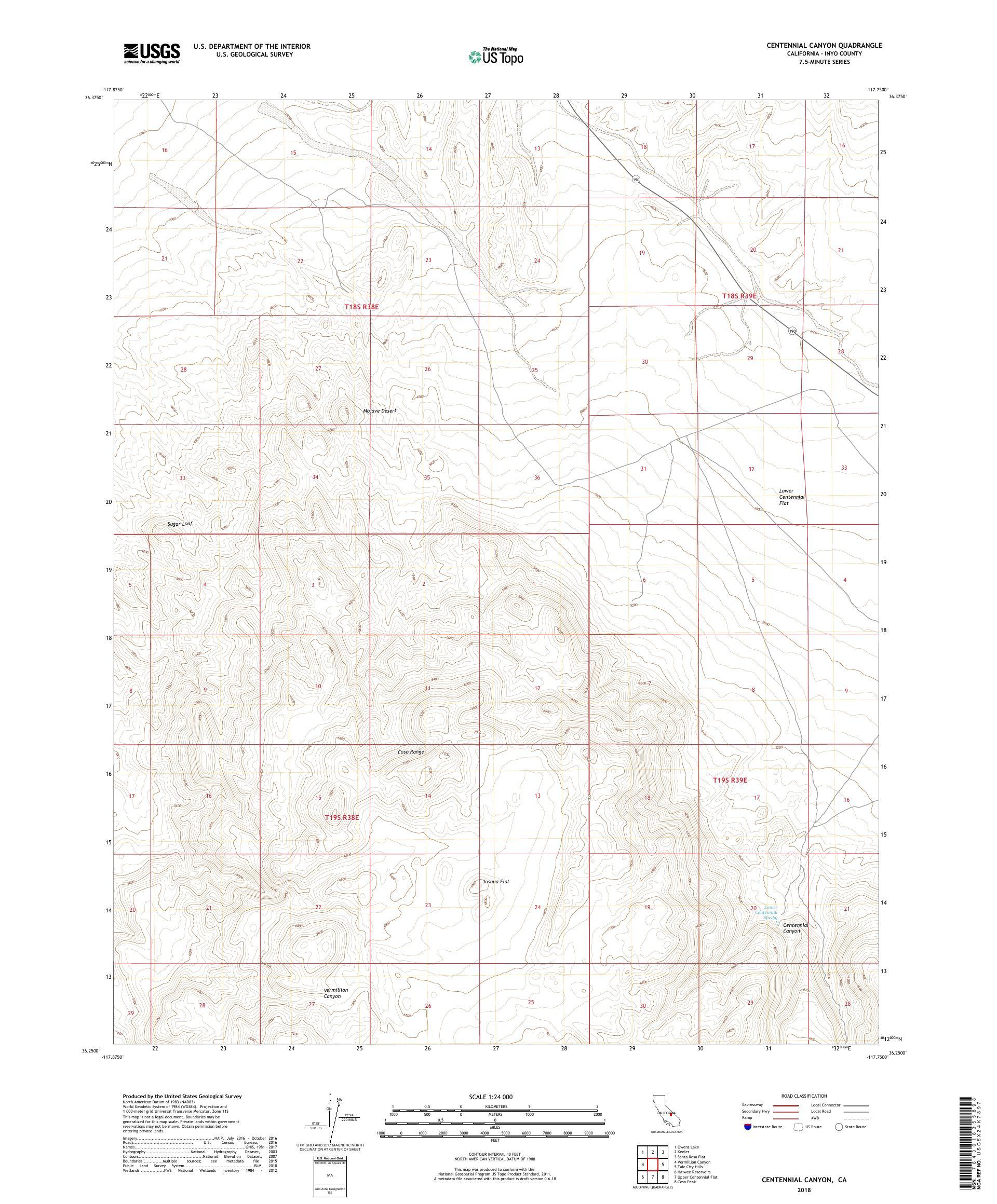 MyTopo Centennial Canyon, California USGS Quad Topo Map