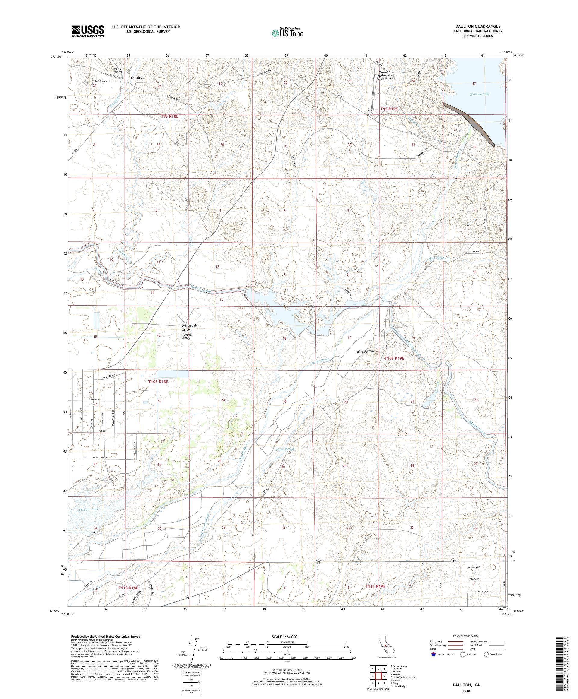 MyTopo Daulton, California USGS Quad Topo Map