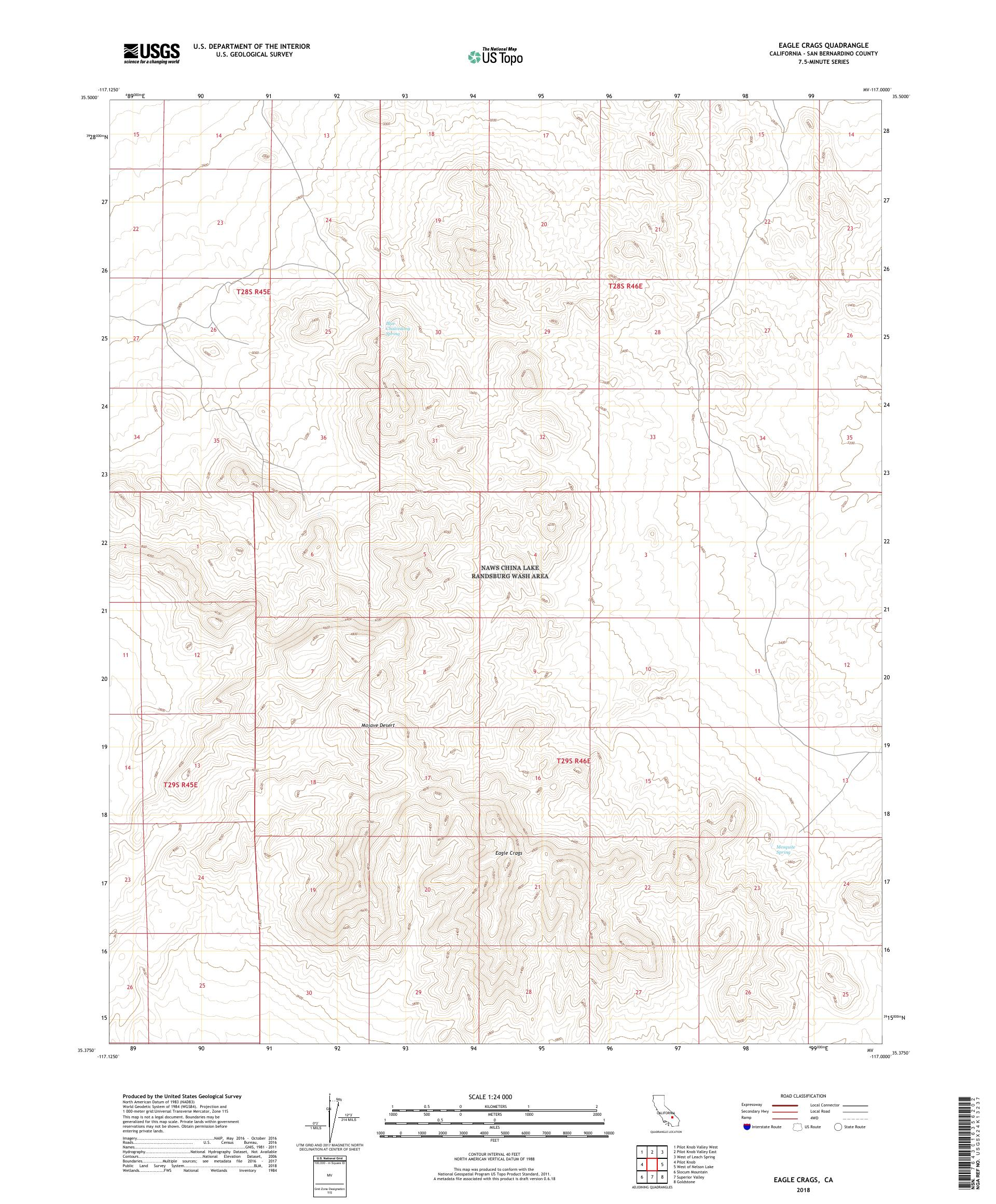 MyTopo Eagle Crags, California USGS Quad Topo Map