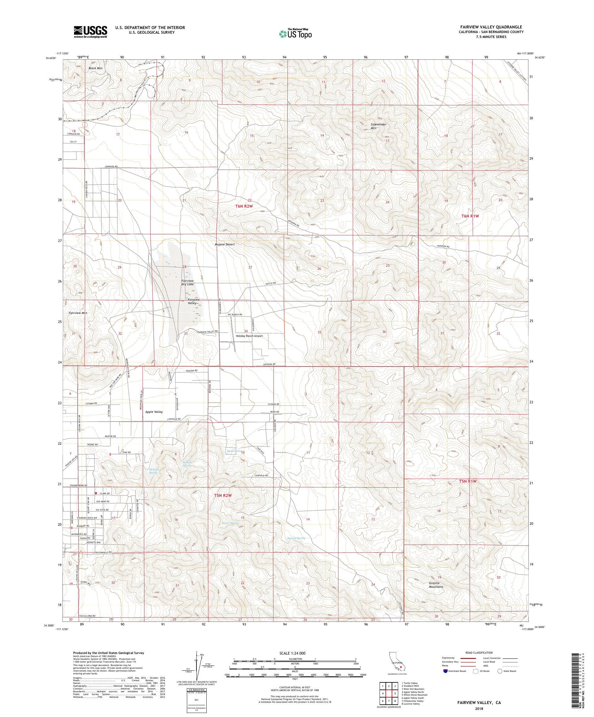 MyTopo Fairview Valley, California USGS Quad Topo Map