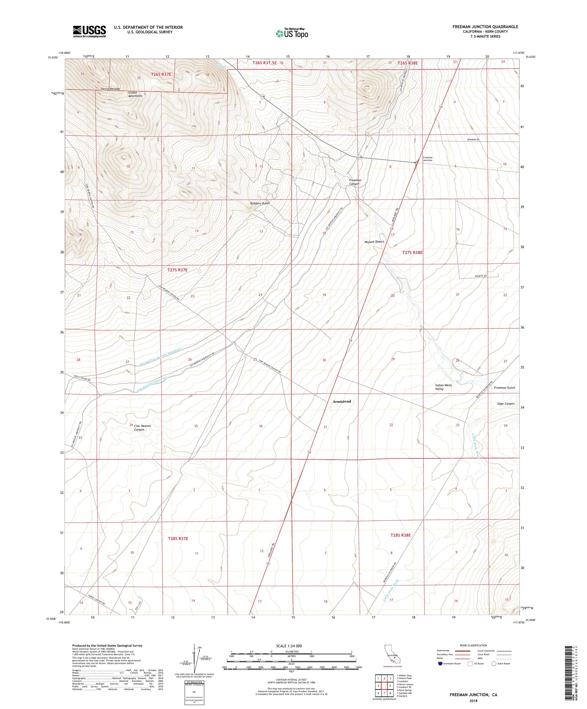 MyTopo Freeman Junction, California USGS Quad Topo Map