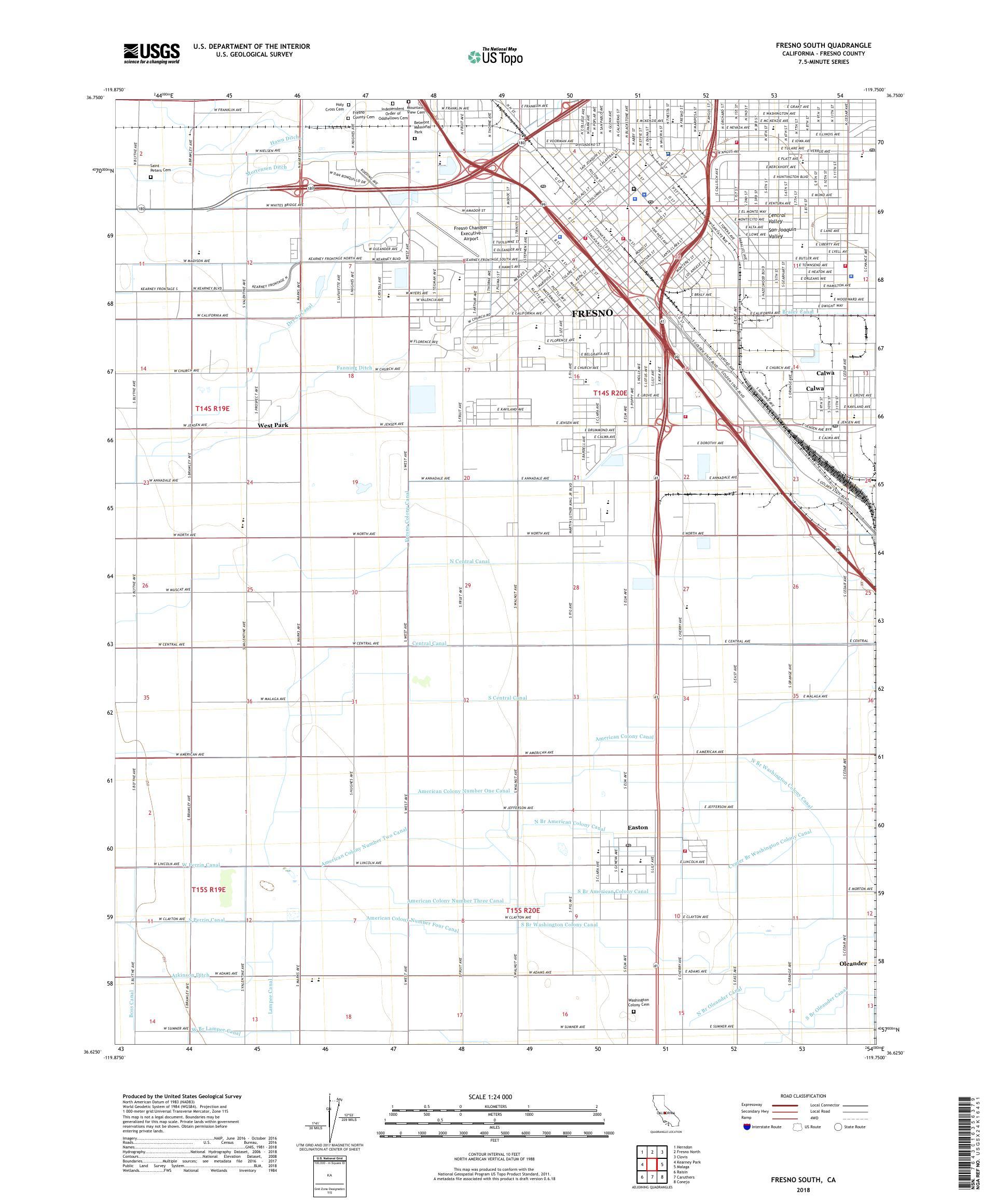 MyTopo Fresno South, California USGS Quad Topo Map