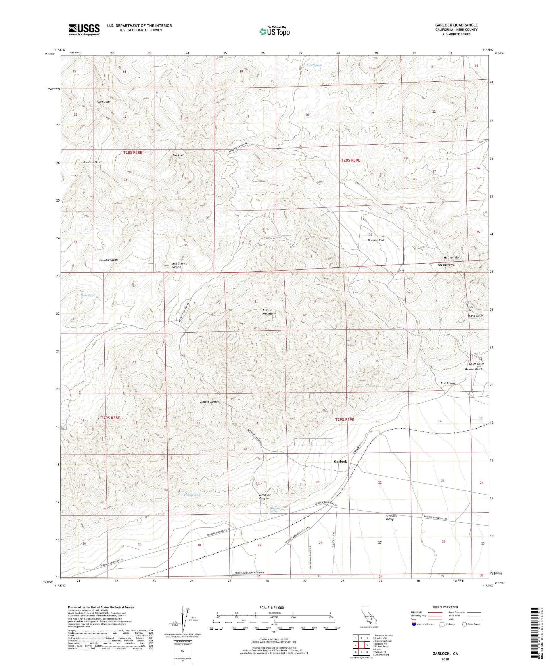 MyTopo Garlock, California USGS Quad Topo Map