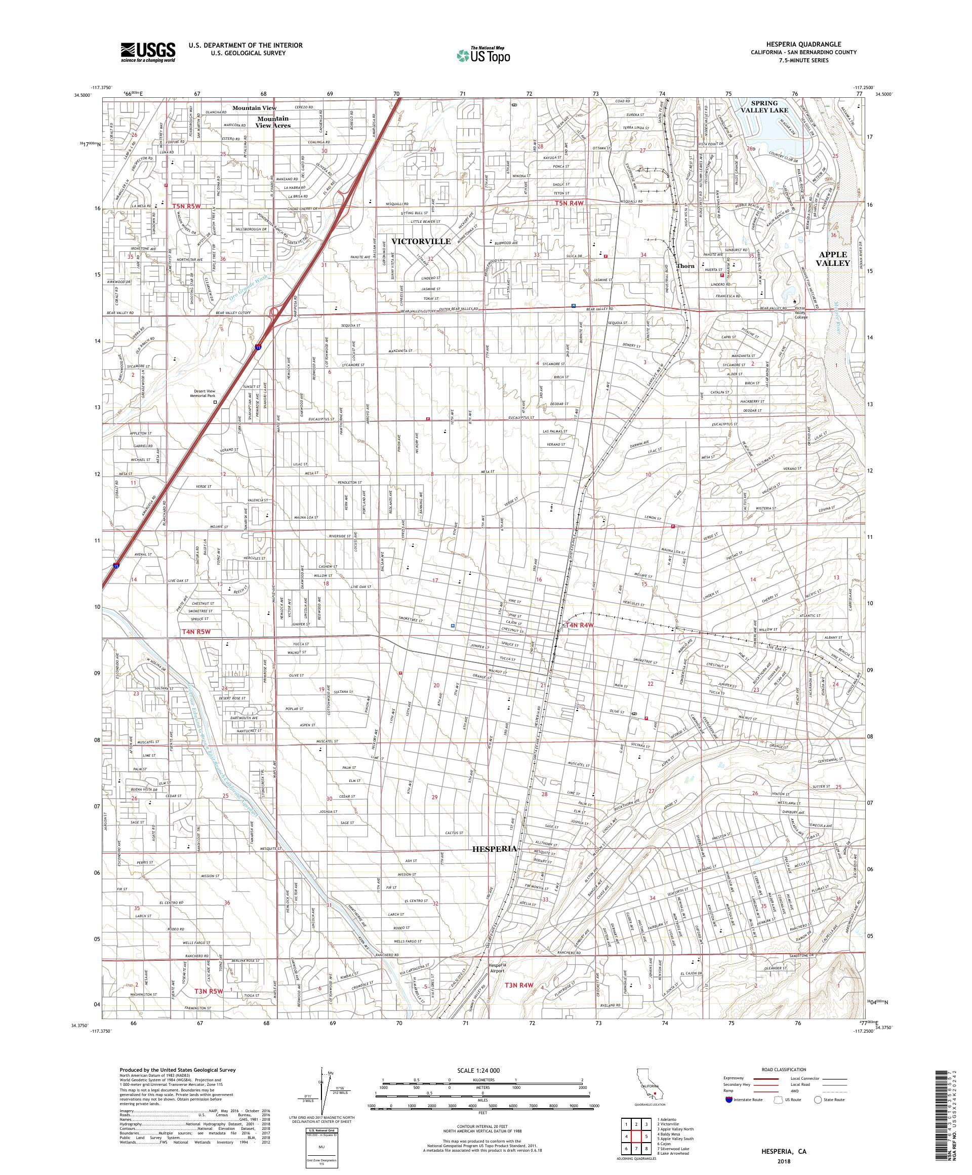 MyTopo Hesperia, California USGS Quad Topo Map