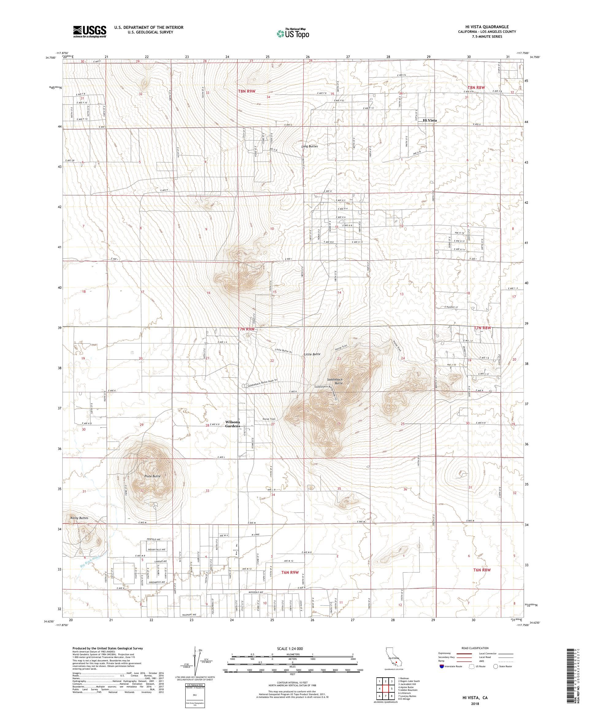 MyTopo Hi Vista, California USGS Quad Topo Map