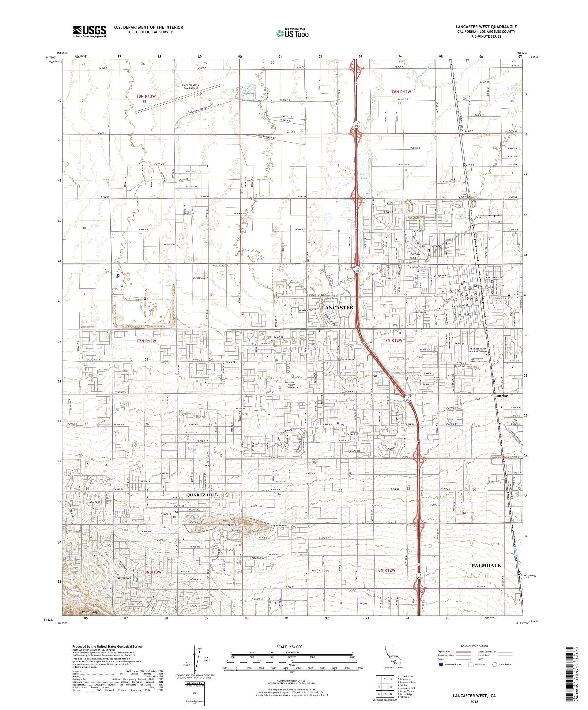 MyTopo Lancaster West, California USGS Quad Topo Map