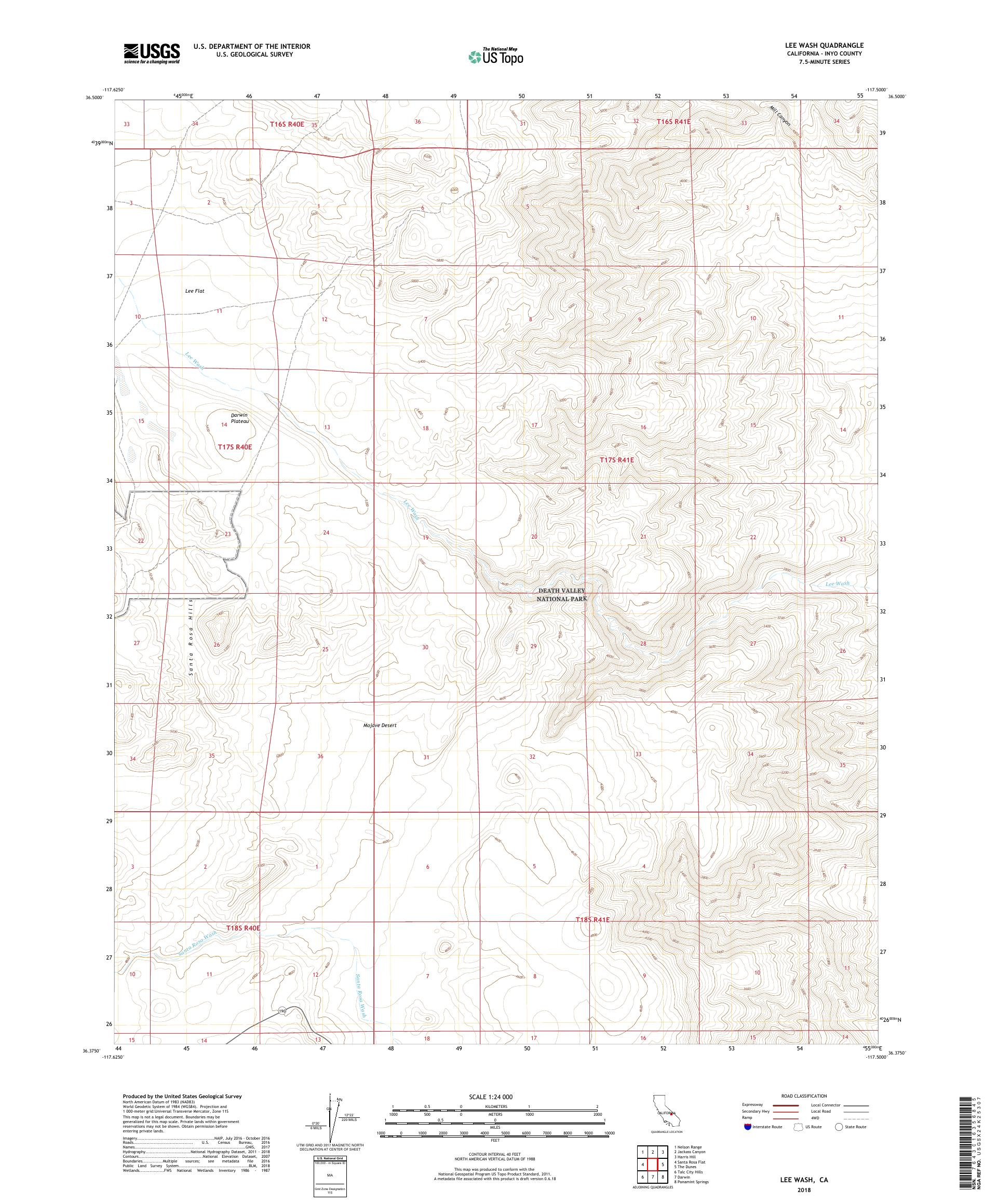 MyTopo Lee Wash, California USGS Quad Topo Map