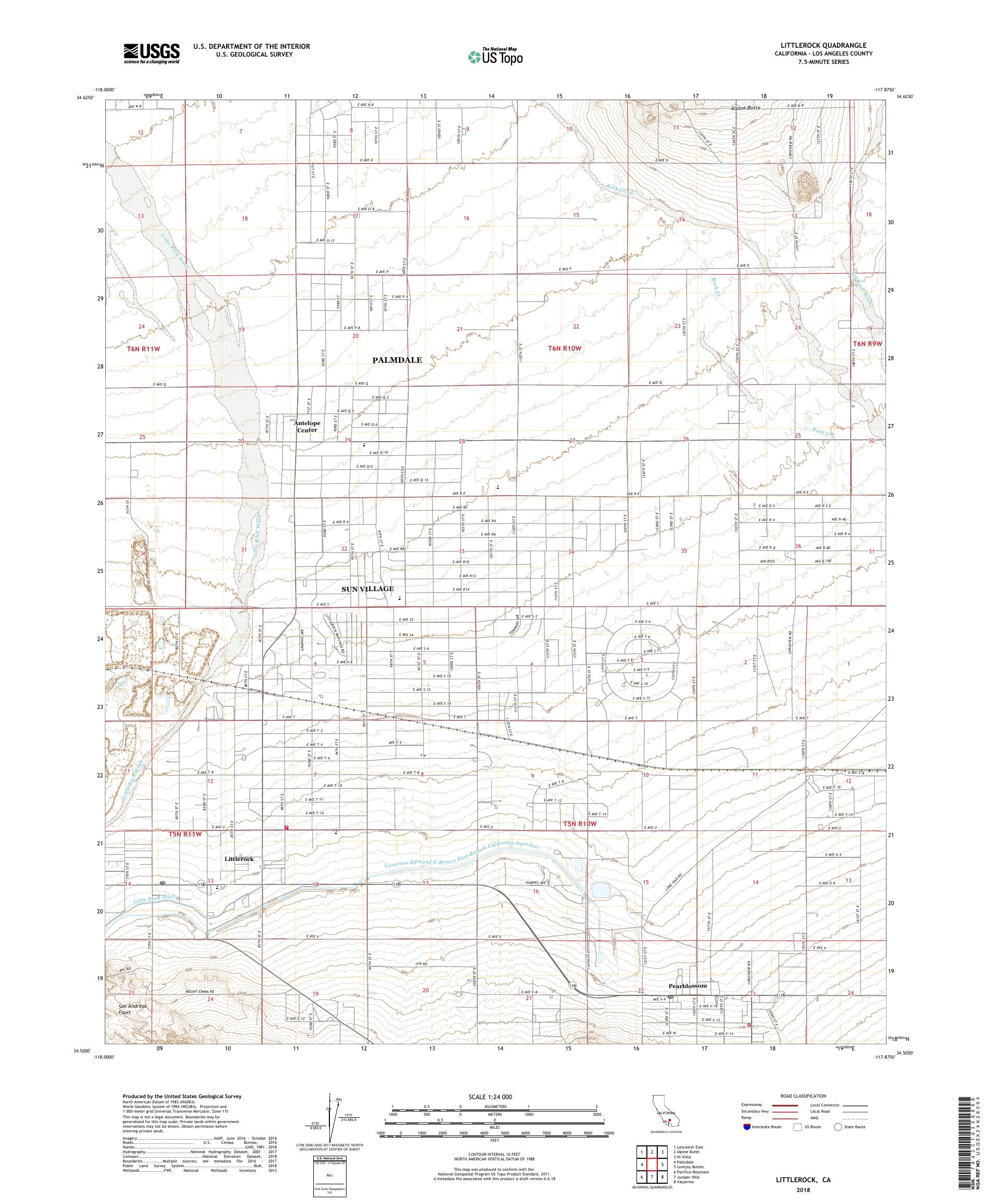 MyTopo Littlerock, California USGS Quad Topo Map