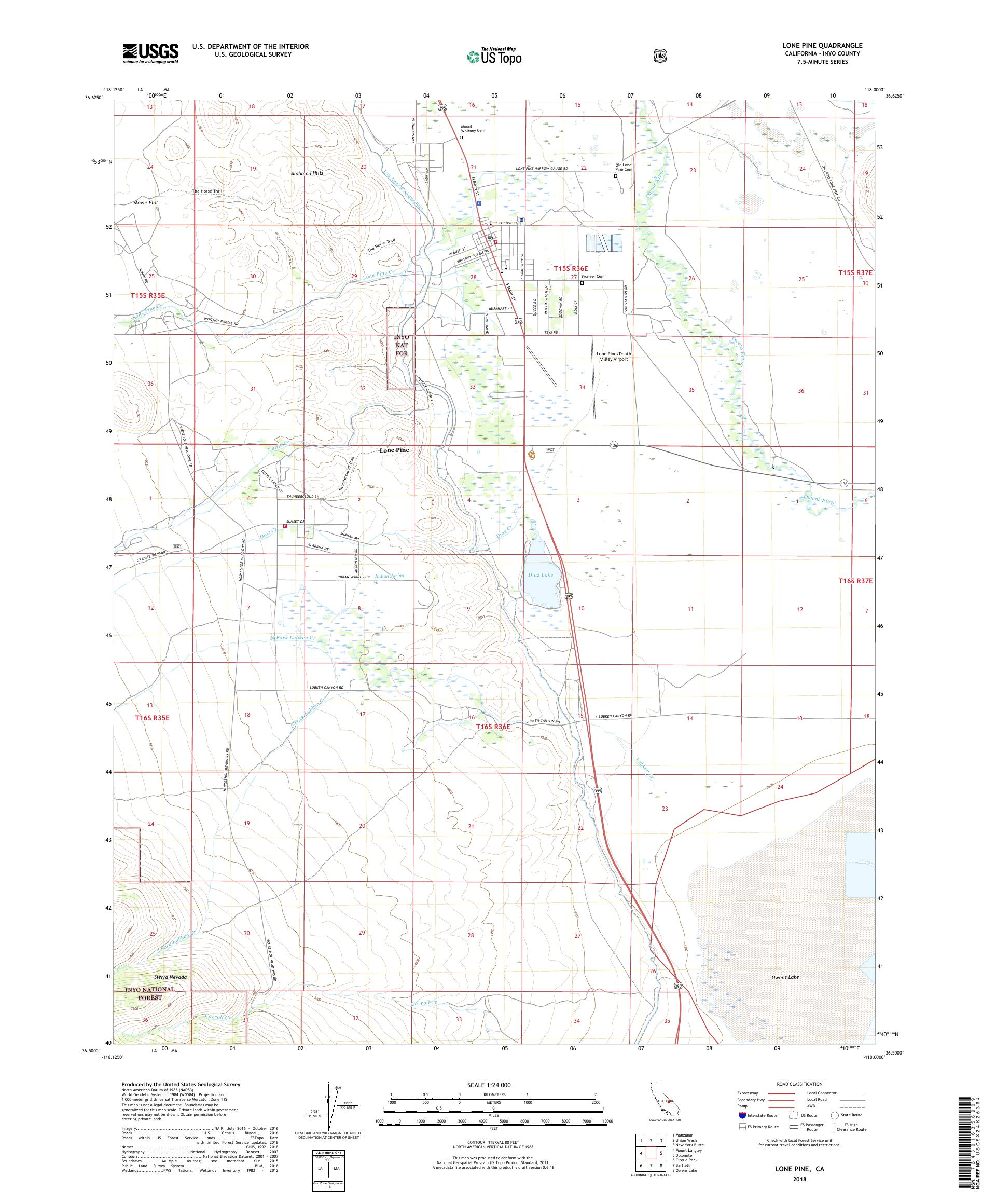 MyTopo Lone Pine, California USGS Quad Topo Map