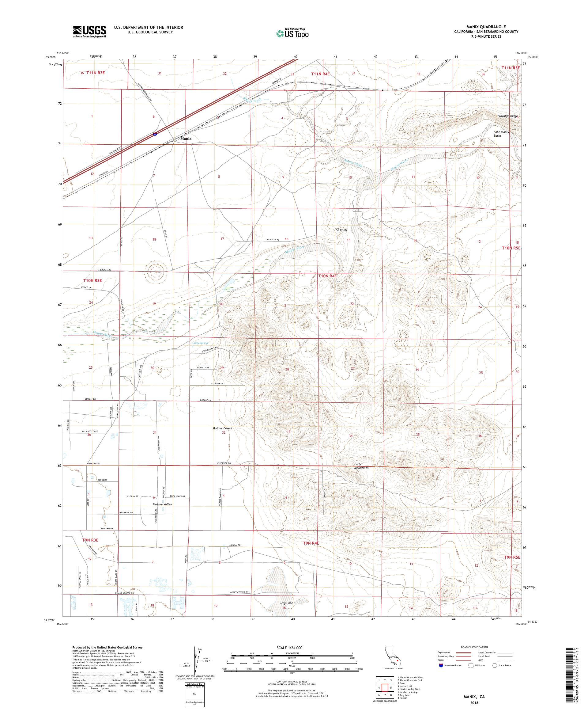 MyTopo Manix, California USGS Quad Topo Map