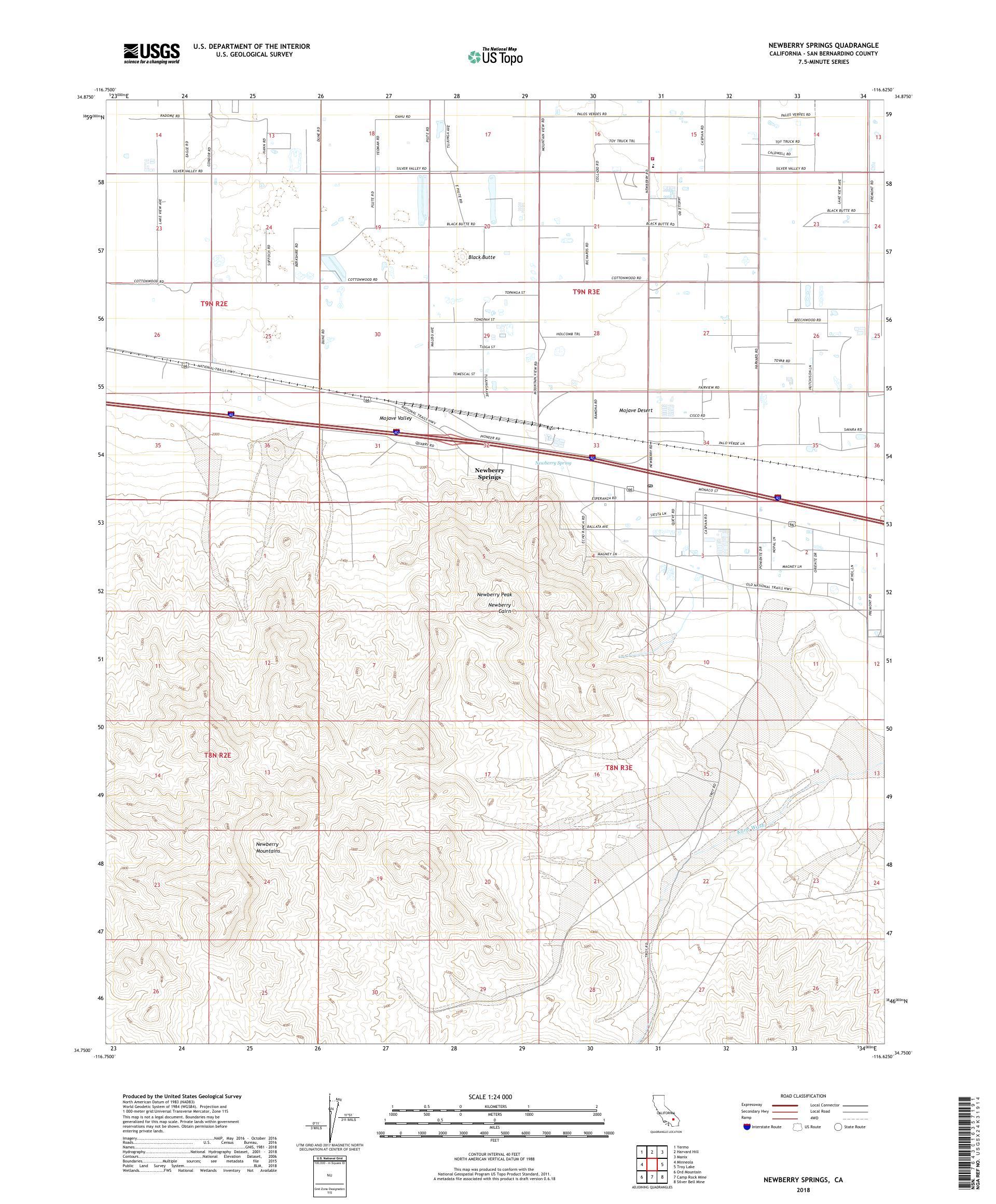 MyTopo Newberry Springs, California USGS Quad Topo Map
