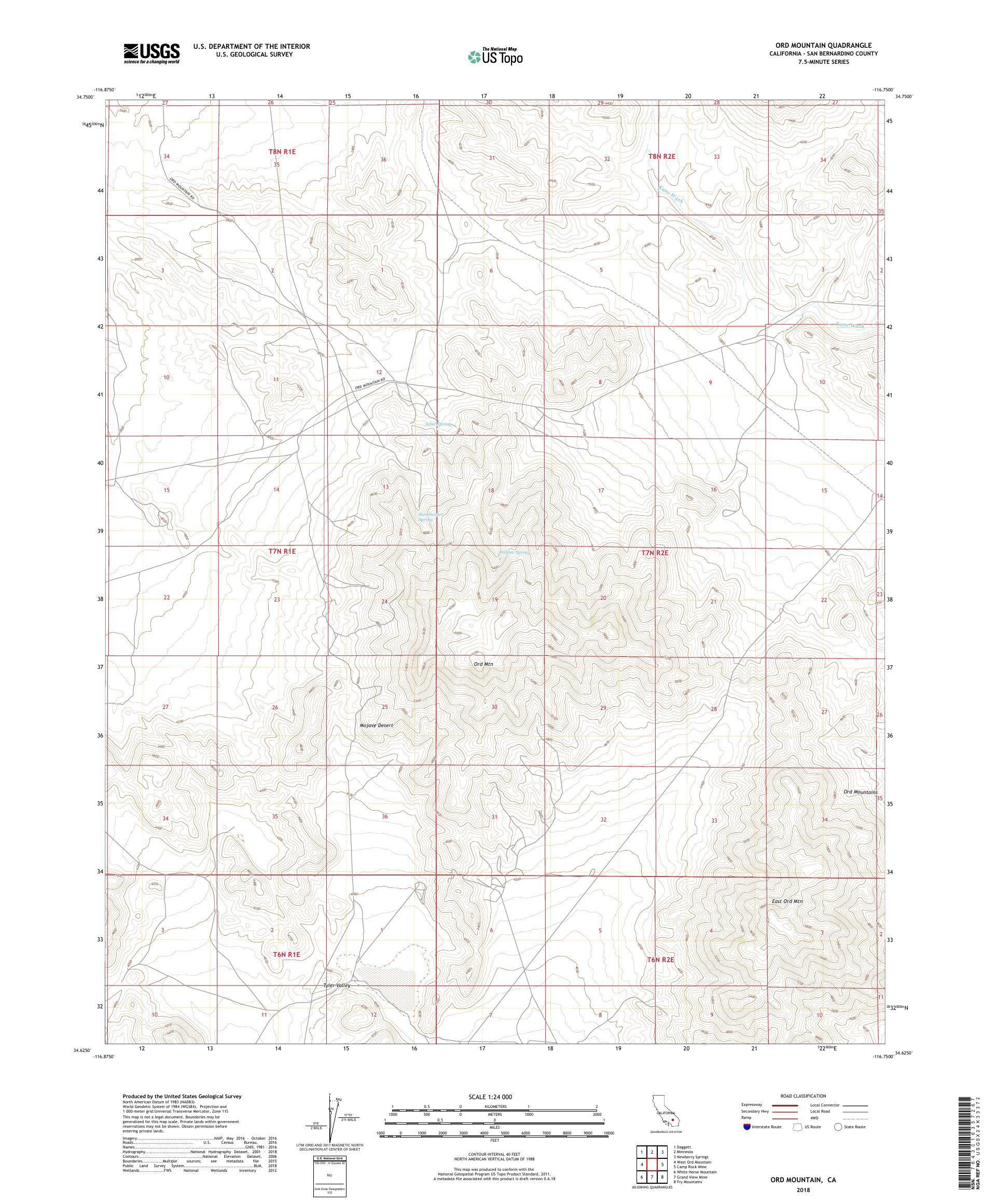MyTopo Ord Mountain, California USGS Quad Topo Map