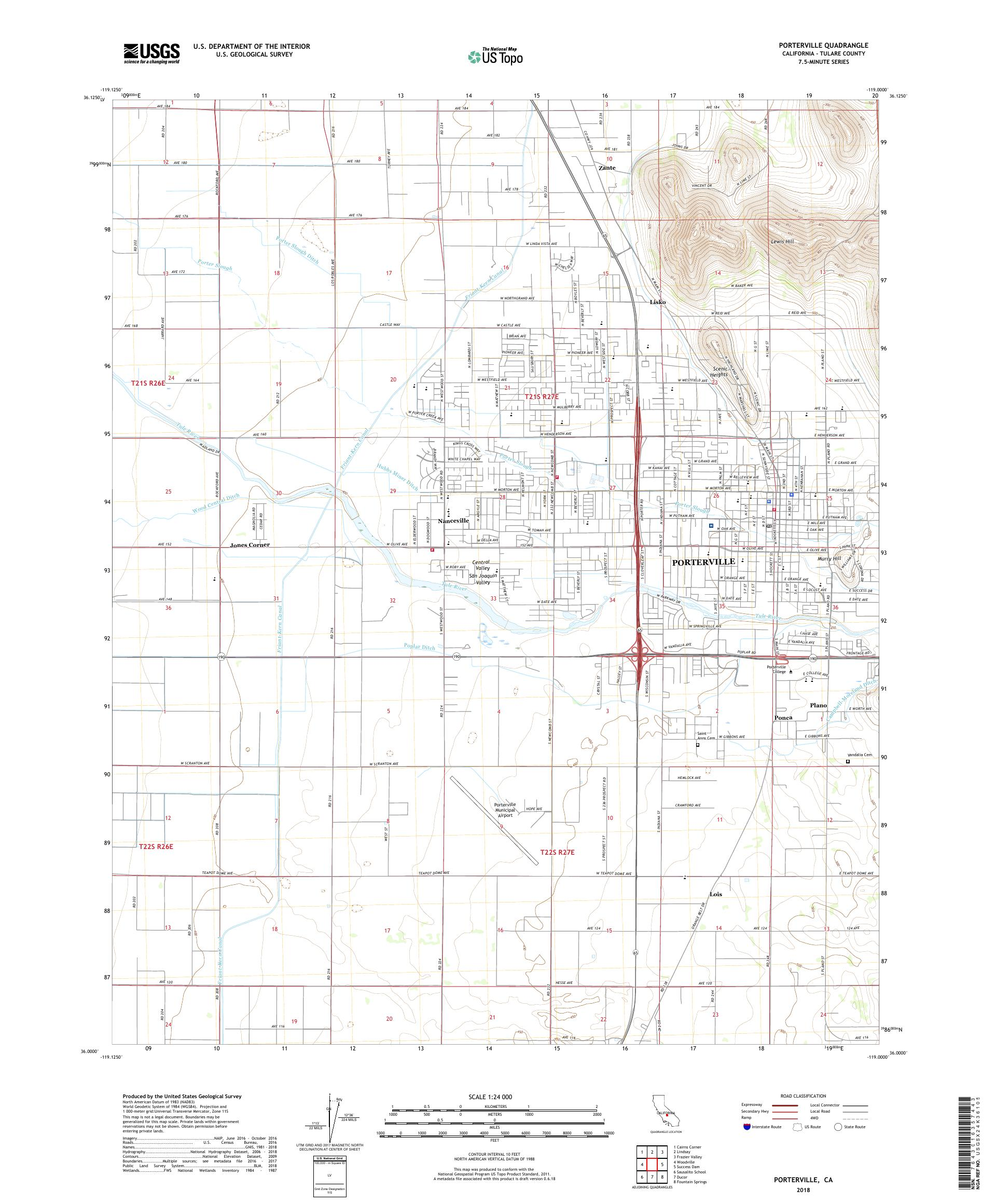 MyTopo Porterville, California USGS Quad Topo Map