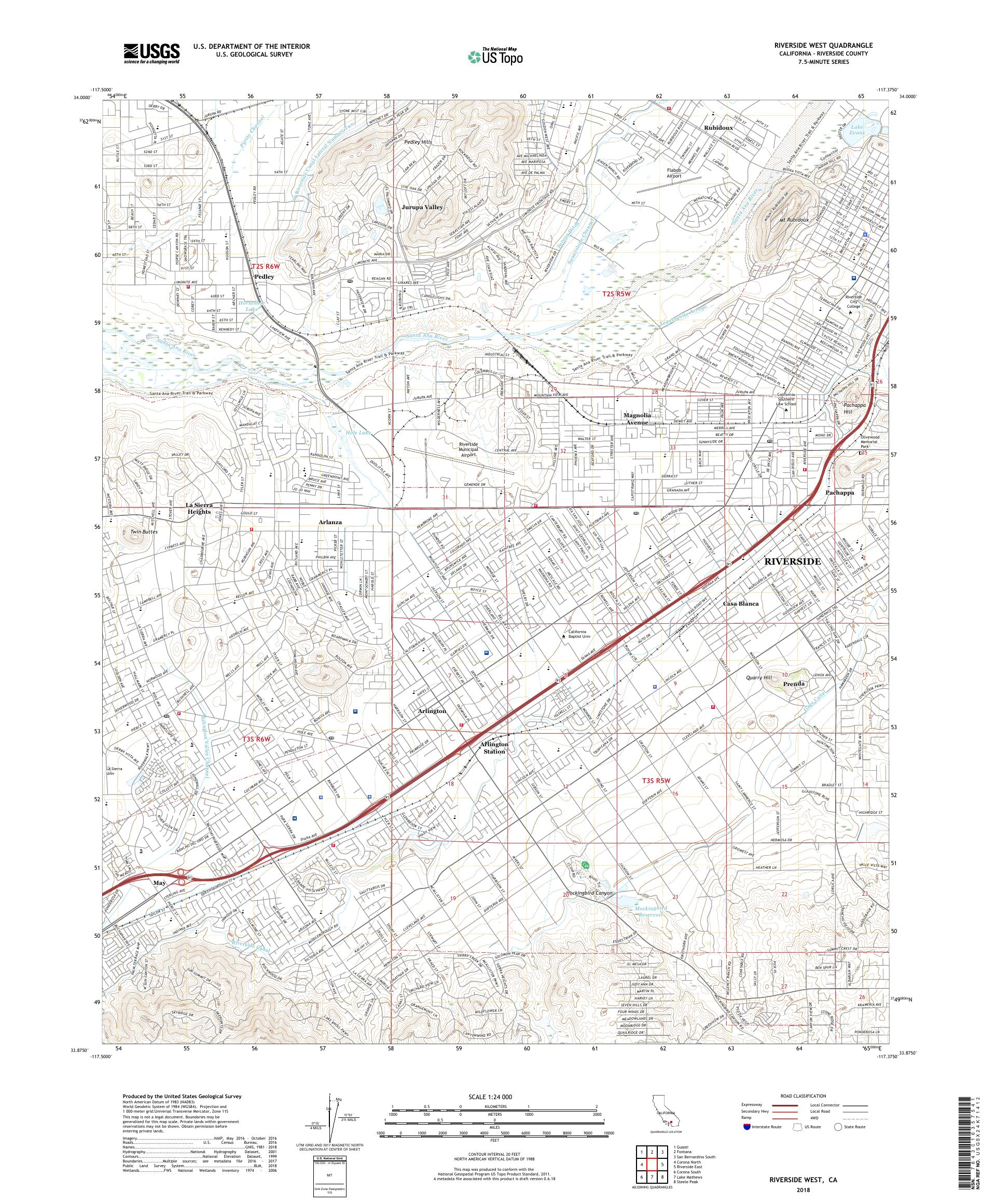 MyTopo Riverside West, California USGS Quad Topo Map