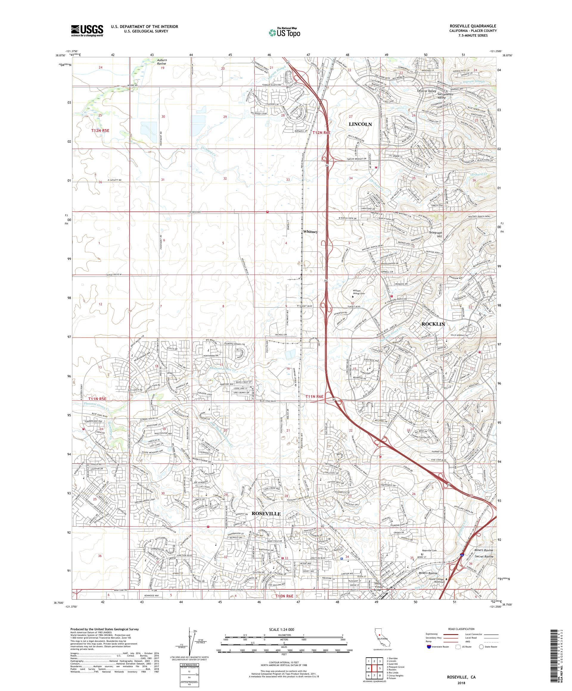 MyTopo Roseville, California USGS Quad Topo Map
