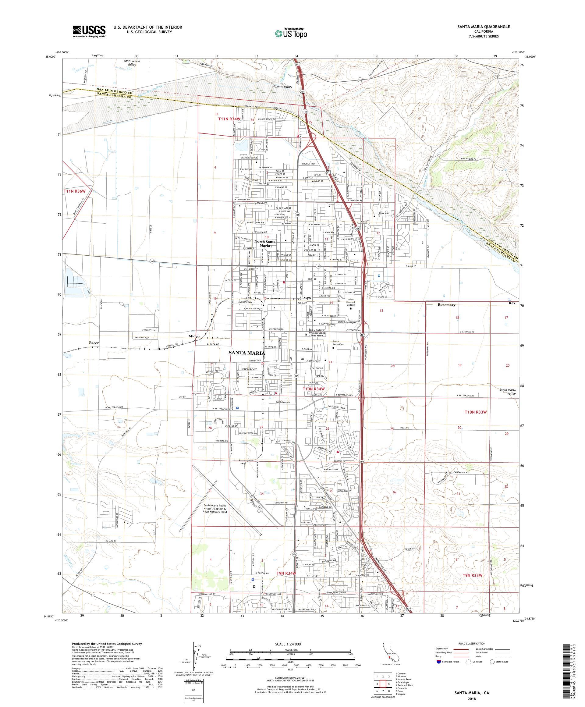 MyTopo Santa Maria, California USGS Quad Topo Map