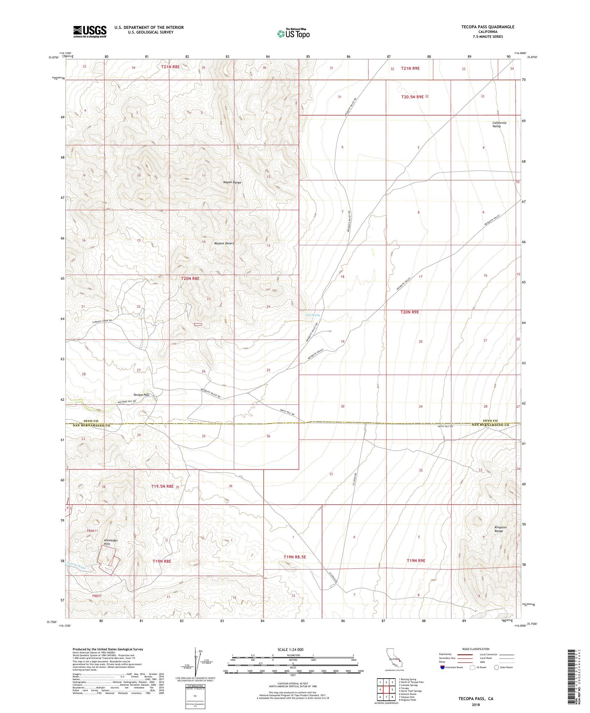 MyTopo Tecopa Pass, California USGS Quad Topo Map
