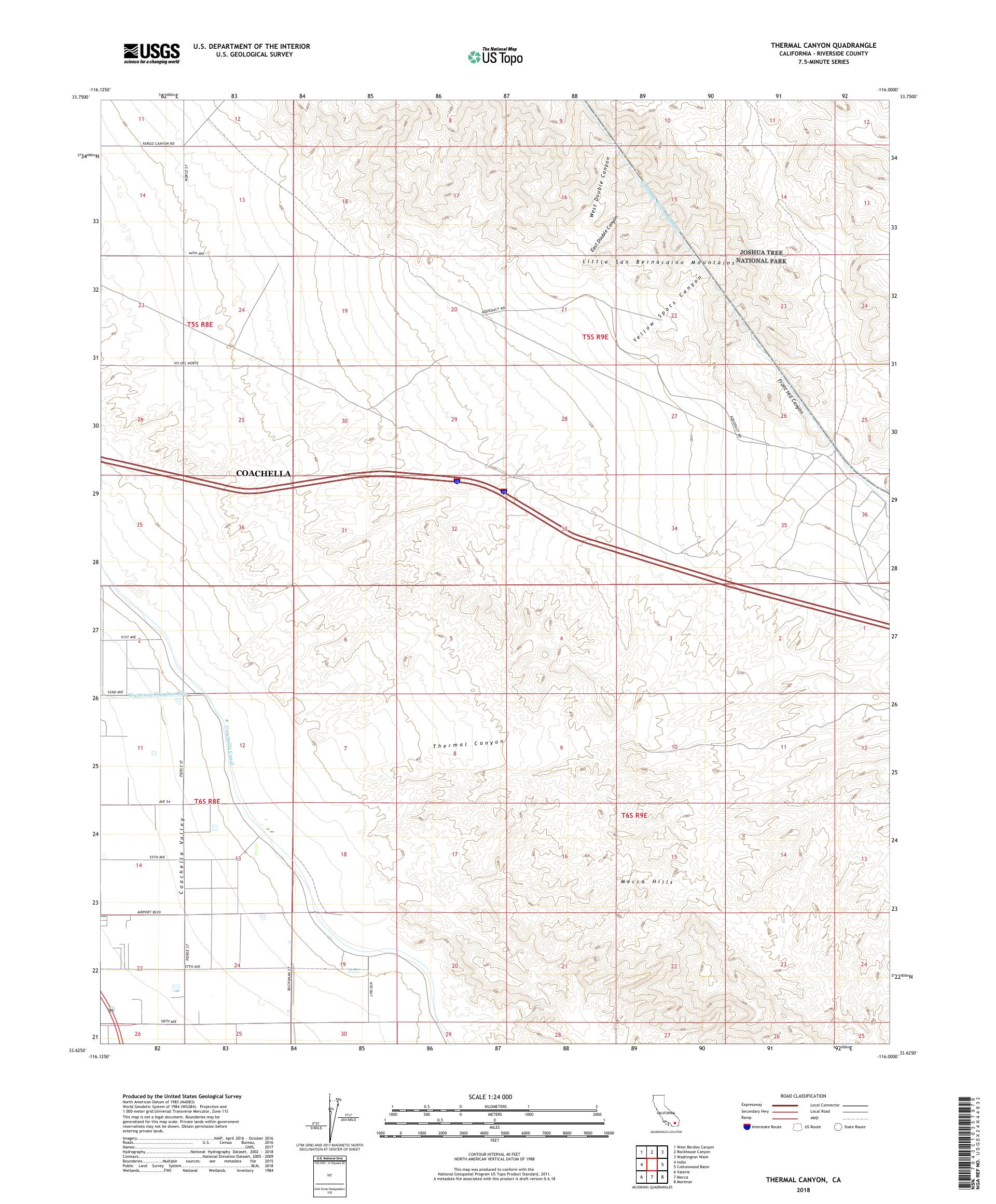MyTopo Thermal Canyon, California USGS Quad Topo Map