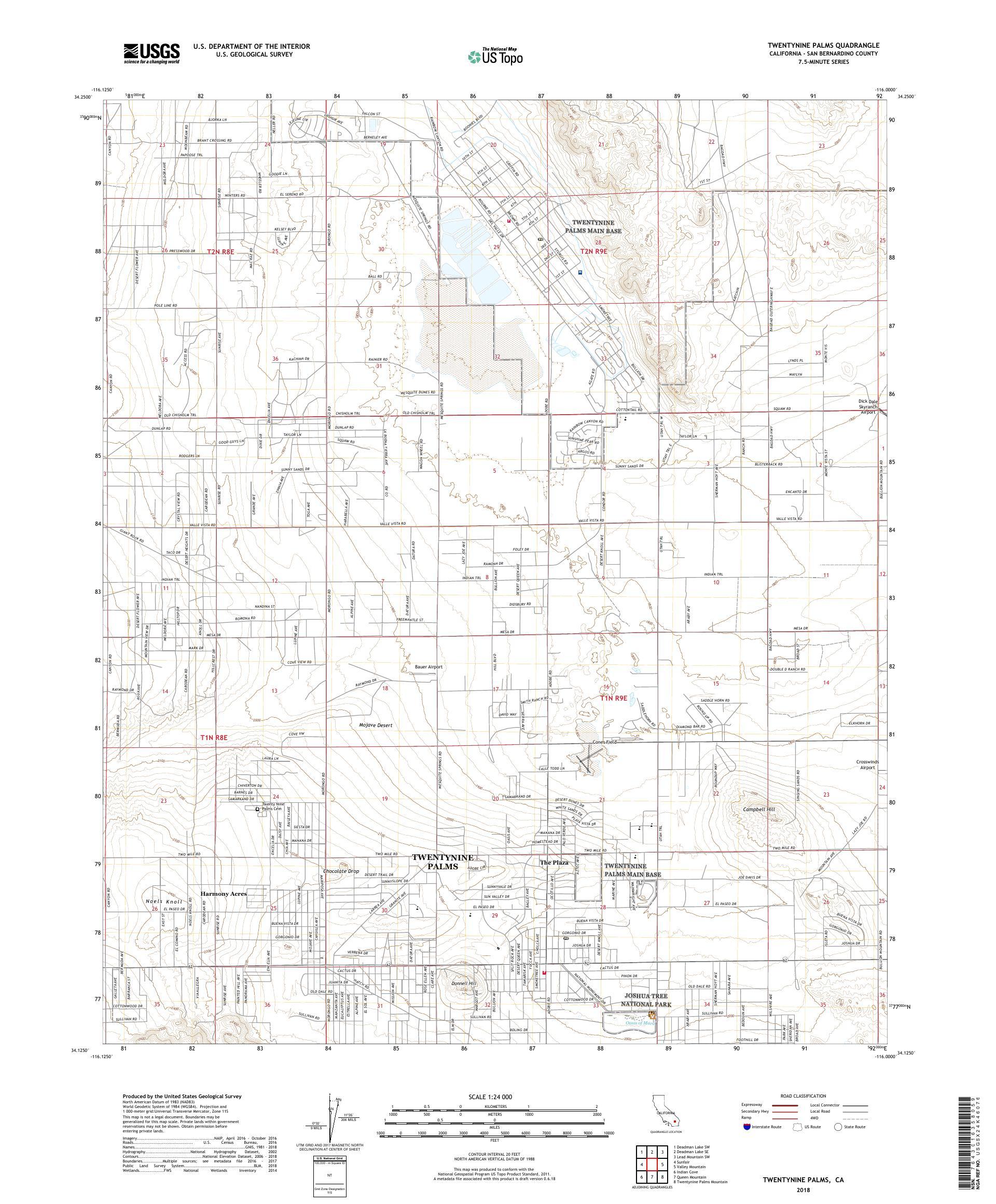 MyTopo Twentynine Palms, California USGS Quad Topo Map