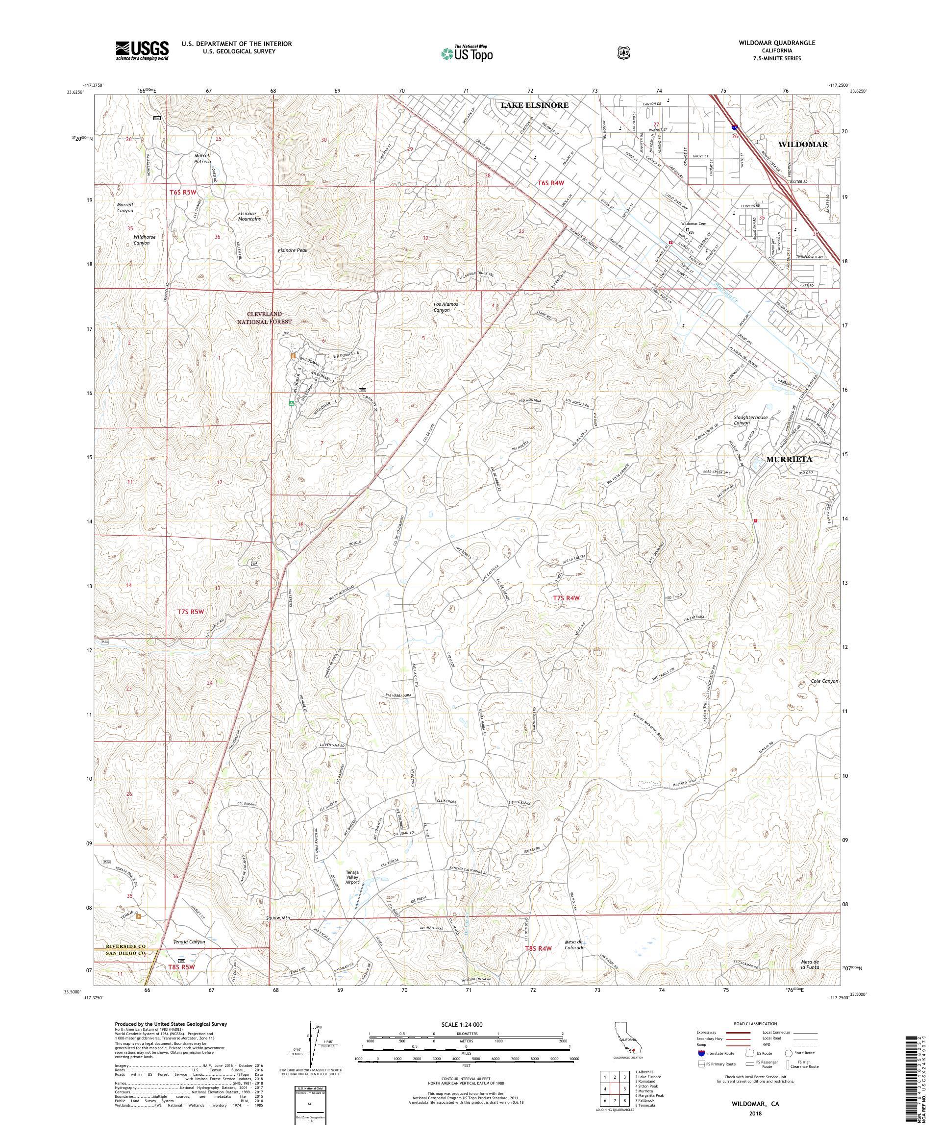MyTopo Wildomar, California USGS Quad Topo Map