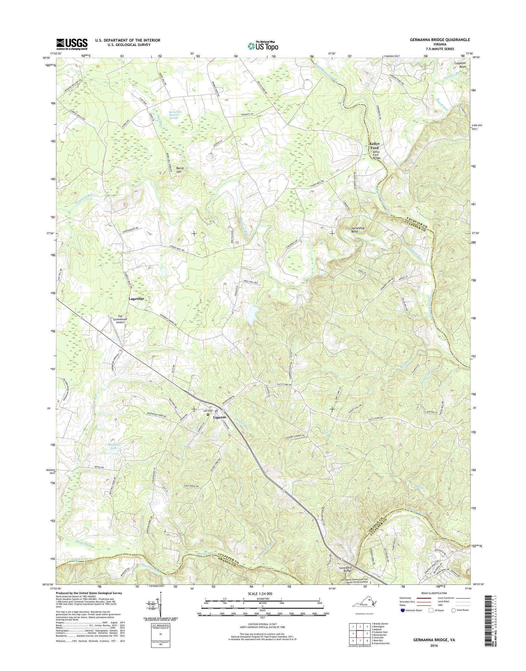 Mytopo Germanna Bridge Virginia Usgs Quad Topo Map