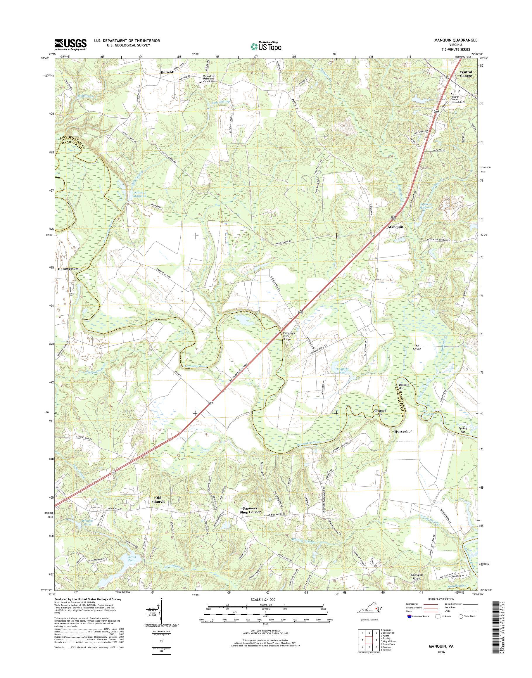 Mytopo Manquin Virginia Usgs Quad Topo Map