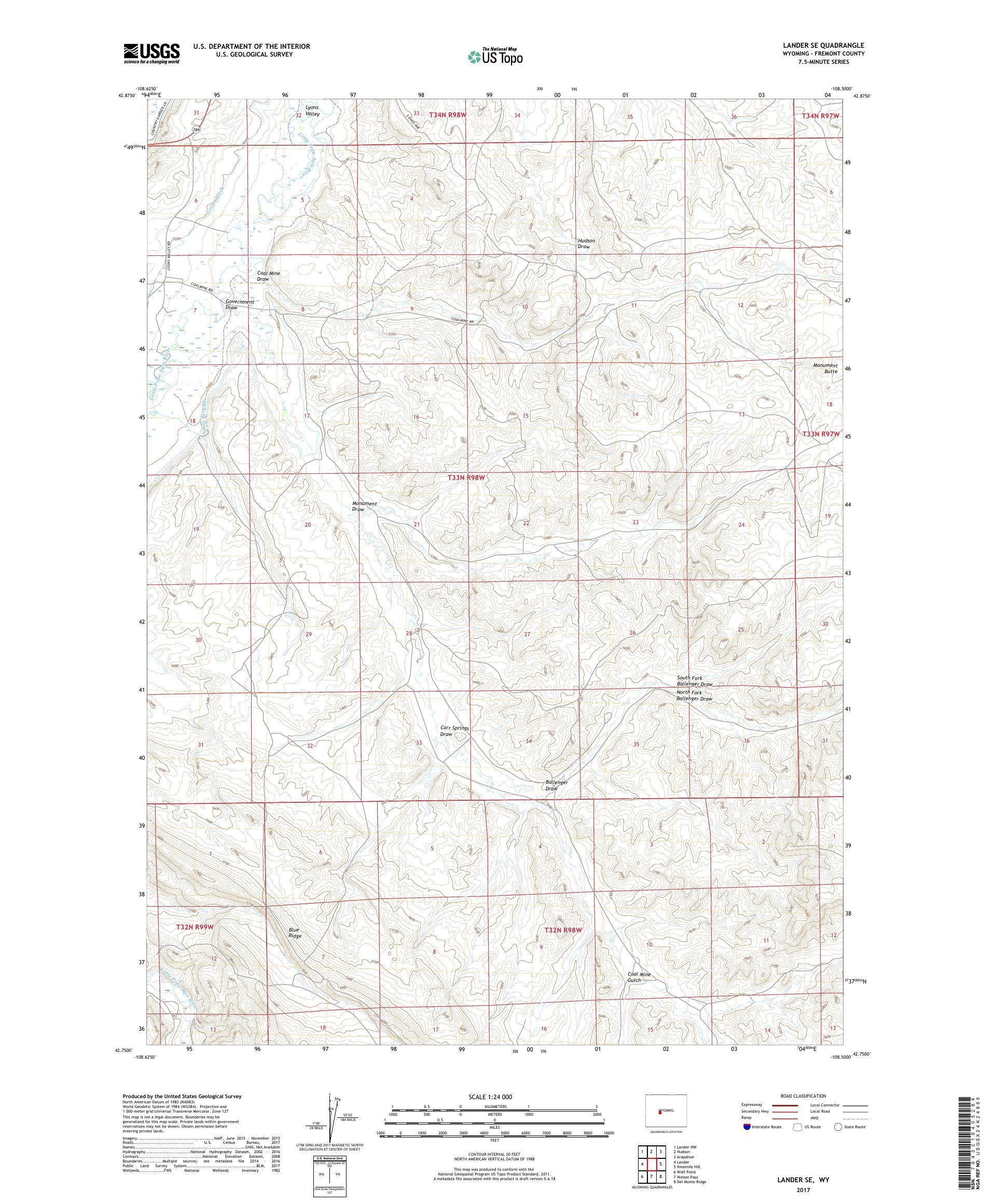 MyTopo Lander SE, Wyoming USGS Quad Topo Map