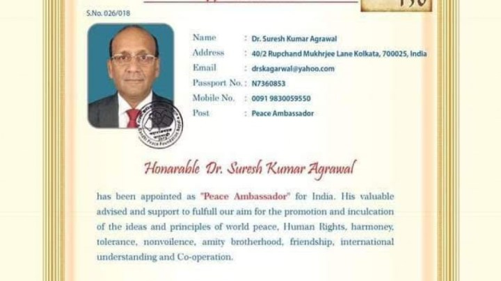 Dr. Suresh Kumar Agarwal of Kolkata appointed Gandhian Philosophy Peace Ambassador for India