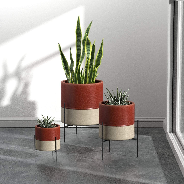Rivet Mid-Century Ceramic Planter with Stand 17