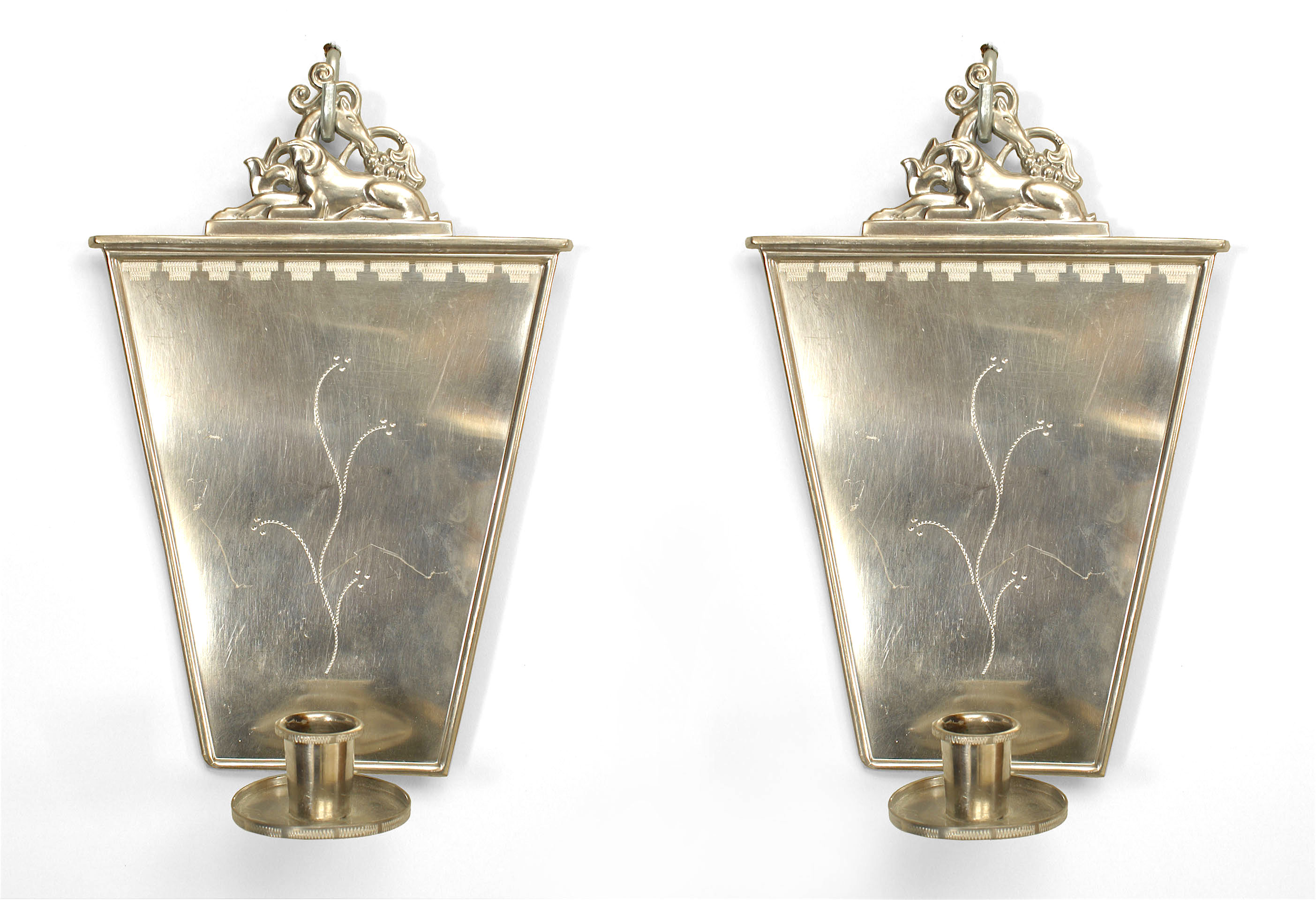 english art deco pewter wall sconces