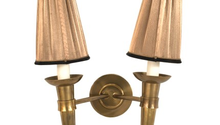 French Mid Century Brass Shaded Wall Sconces 1