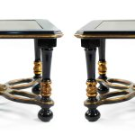 French Ebonized Gold Glass End Tables