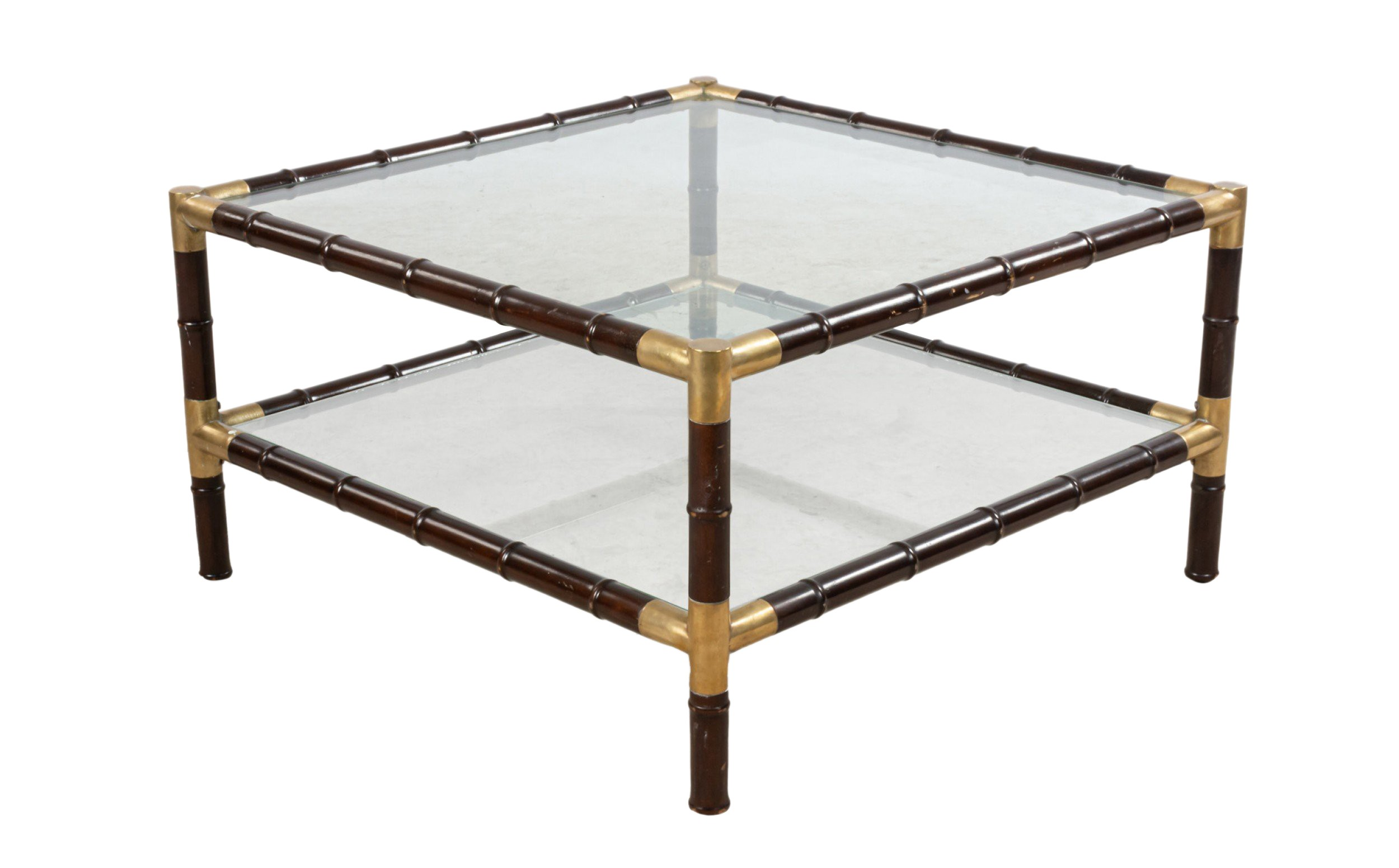 faux bamboo glass square coffee table