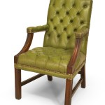 English Georgian Green Tufted Chairs
