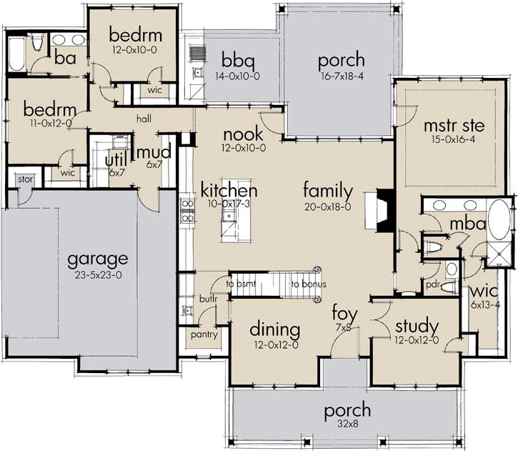 Kitchen Floor Plans Island And Walk Pantry