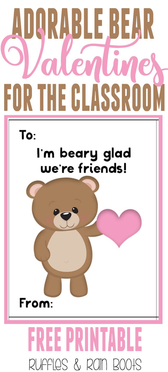 Get These Oh, So Adorable Free Bear Valentine's Day Cards For Kids  Printable. #