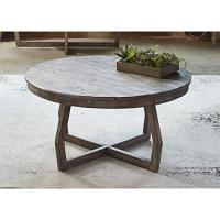 Modern Rustic Reclaimed Gray Wood Round Console Cocktail ...