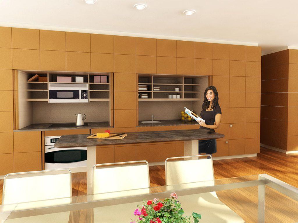 Hidden Kitchen Cabinet System  For Residential Pros