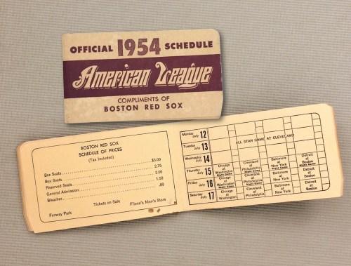 1954 Spalding American League Schedule