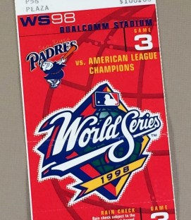 World Series 1998 Game 3 Ticket stub